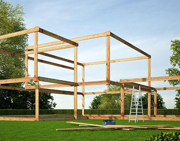 Imagebild Fehler beim Hausbau: Holzgerüst eines Hauses